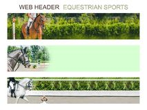 Banner template set, equestrian sports. Collection of horizontal web header designs, 4500 x 900 pixels, green trees and rider with horse as a background, copy stock photo