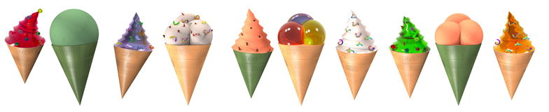 collection horn with ice cream 3D Royalty Free Stock Photography