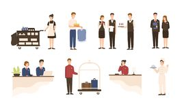 Collection of hotel staff - receptionist, maid or housekeeping service and laundry attendant workers, waiters and. Waitresses, chief, bellhop isolated on white vector illustration