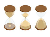 Collection of hourglasses on white background. Sand clock flat 3d vector isometric illustration. Stock Photo
