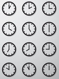 Collection of 12 hours clock face icon. Royalty Free Stock Photography