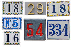 Collection of House numbers on the wall Royalty Free Stock Images