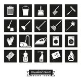 Household Chores Square Icon Set. Collection of 20 Household Chores square black Icons Stock Photo
