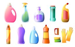Set of detergent bottles, containers, cleaning supplies, washing powder, spray flat icon isolated on white background. vector illustration