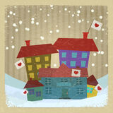 Collection of houses with flags  Royalty Free Stock Image
