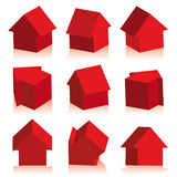 Collection of houses red, icon Royalty Free Stock Photos