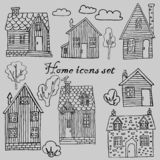Collection of houses, trees, bushes, clouds, vector images vector illustration