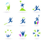 Collection of human business and success icons. Vector set of businessman icons. In pack is included 9 blue icons with business, success and money themes. Vector Stock Photos
