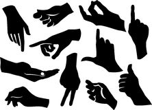 Collection of human hands. Black silhouette Royalty Free Stock Photo