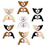 Collection. Human hands are folded in the shape of a heart and a red heart. People of different nationalities. Valentine s Day. stock illustration