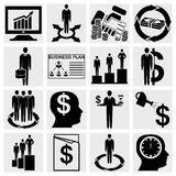 Human resource, finance, logistic and management icons set. Collection of human resource, finance, logistic and management icons set isolated on grey background Royalty Free Stock Photos