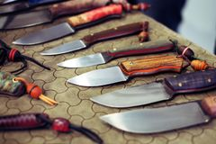 Collection of hunting knives Stock Photos