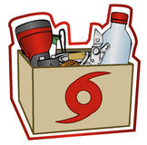 Collection of Hurricane Preparation Items. Group of some items recommended for a hurricane prep kit in a box. Each item is grouped together on the same layer stock illustration