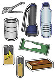Collection of Hurricane Preparation Items. Group of some items recommended for a hurricane prep kit. Each item is grouped on its own layer. Fills and outlines vector illustration