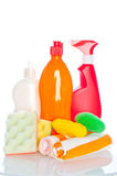 Collection of hygiene cleaners for housework Stock Photos