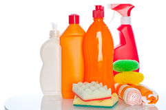 Collection of hygiene cleaners for housework Stock Image