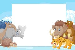Collection of ice age animals with blank sign Royalty Free Stock Image