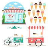 Collection of Ice Cream Design Elements Royalty Free Stock Photography