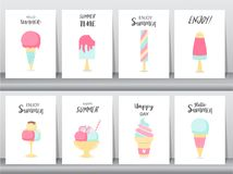 Collection of ice cream invitation card,Happy national ice cream day,poster, greeting, template,cone,sundea,scoop,Vector illustrat. Collection of ice cream stock illustration
