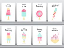 Collection of ice cream invitation card,Happy national ice cream day,poster, greeting, template,cone,sundea,scoop,Vector illustrat. Ions vector illustration