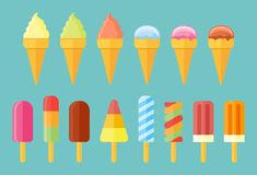 Collection of ice cream. Set of cones, ice lolly, popsicles flat icons. Collection of ice cream. Set of cones, ice lolly, popsicles isolated on blue background Royalty Free Stock Image