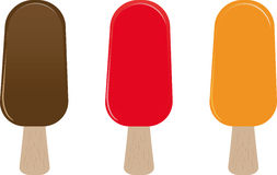 Collection of ice cream on wooden stick Stock Images