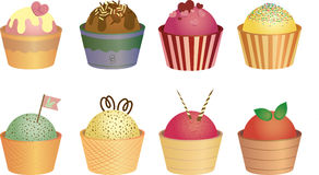 Collection of ice creams. Set. Royalty Free Stock Photo
