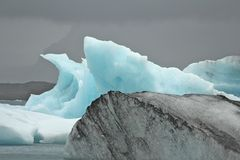 Collection of Icebergs. Blue and grey icebergs on Jokulsarlon glacier lake, Iceland Stock Images