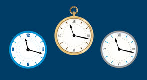 Collection icon of clock. Wall clock  illustration, Flat. Stock Images