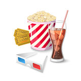 Collection icon symbols on watching movies in cinema Stock Photos
