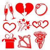 Collection icon Valentine day, vector Royalty Free Stock Photos