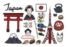 Collection of iconic symbols of Japan Stock Images