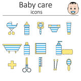 Collection of icons. Baby care. Icons for the care of a newborn baby boy. Royalty Free Stock Images