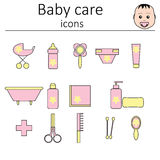 Collection of icons. Baby care. Icons for the care of the newborn girl. Royalty Free Stock Image