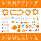 Collection of icons and buttons web design element. Collection of hand draw icons and buttons web design elements orange color stock illustration