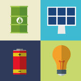 Collection icons electrical energy Stock Photo