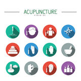 Collection of  icons elements for acupuncture and massage, TCM. Royalty Free Stock Image