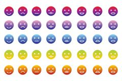 Collection of 8 icons of emoticons in 5 color gradients. 40 smileys in various color tones Royalty Free Stock Images