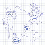 Collection icons for halloween on notebook Royalty Free Stock Photography