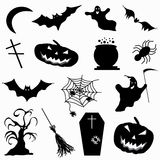 A collection of 15 icons Halloween vector illustration Stock Photos