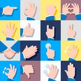 Collection of icons with hand gestures. Vector illustrations. Eps 10 Vector Illustration