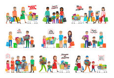 Collection of Icons with Happy Family Shopping Royalty Free Stock Images