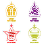 Collection icons Happy New Year and Christmas. Collection icons, Happy New Year, Christmas decorations on white background stock illustration