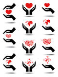 Collection of icons with hearts Royalty Free Stock Photography