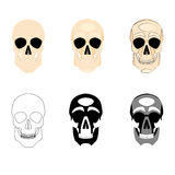 Collection icons human skulls logo in various styles, silhouette, line, color, simple, monochrome Royalty Free Stock Image