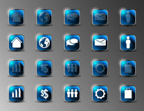 Collection of icons with long shadows. Collection of blue shiny icons with long shadows Royalty Free Stock Photography