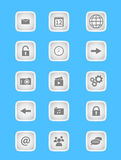 Collection of icons for mobile applications and web in light grey design. Set of 15 icons for mobile applications and web use in modern minimalistic design of Stock Images