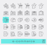 Collection of icons for online shopping. Royalty Free Stock Photo