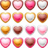 Collection of icons with a shiny, glossy hearts Royalty Free Stock Photo