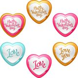 Collection of icons with a shiny, glossy hearts Stock Images